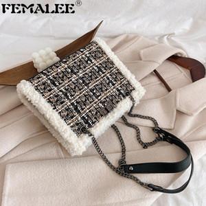 Kış Klasik Tweed Çanta İçin Kadınlar Lambswool Çerçeveli Crossbody Çanta Lady Lüks Zincirler Omuz Çantaları Houndstooth Debriyaj Çanta