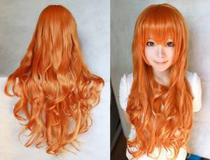 2021 Новые горячие продажи аниме парики сцена, 80 см оранжевый высокотемпературный шелковый воздух Керлинг парик крышка