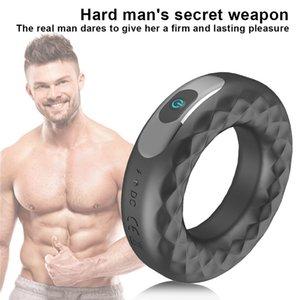 Blocco vibrante uomo Penis Anello giocattolo Durata in silicone impermeabile Ritardo riutilizzabile Fine Ring Vibrator Sex Sex Supplies Cock RJJCR