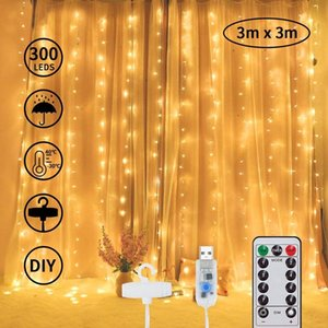 VLED curtains easy home stripes 300 balcony to install multi-scene use 8 patterns holiday warm white string lights decoration  30