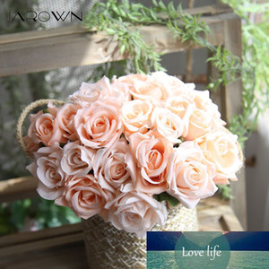 JAROWN Artificial Rose Silk Fake Flowers Wedding Flowers Bouquet 9 Head Rose Flowers Home Party Decoration Indoor Flores