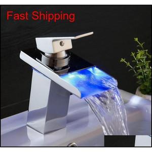Black Water Powered Led Faucet Bathroom Basin Faucet Brass Mixer Tap Waterfall F jllfKF eatout