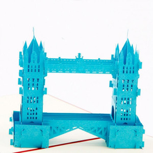 Paper Laser Cut 3D Up Thames Bridge Gift Cards Vintage Postcard Birthday Father's Day Greeting Cards with Envelope 3pcs lot