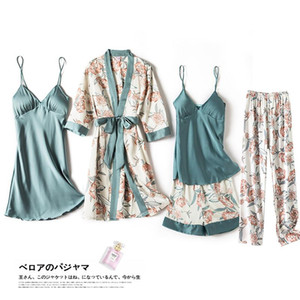 Summer Print Sexy Nighty&Robe Set Strap Top Lady 5PCS Sleepwear Full Sleeve&Pant Satin Nightwear Kimono Bath Robe Gown