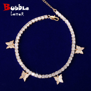 With Animal Butterfly Bracelet for Women Gold Color Zircon 4MM Tennis Chain Material Copper Adjustable Hip Hop Rock Street Charms Jewelry