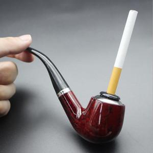 Tubo de resina fumar Tubo de cigarrillo lavable extraíble Filtro con mango curvado Tubo de madera maciza Soporte de cigarrillo creativo Accesorio Zyy541