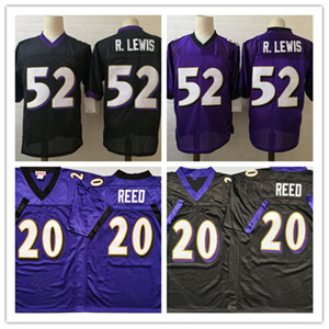 Mens NCAA Weinlese # 52 Ray Lewis Fußball-Jersey-nähte Schwarz Lila 2004 # 20 Ed Reed Jersery # 52 R.Lewis Jersey
