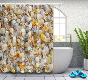 Clean Stacked Seashells Waterproof Fabric Shower Curtain Bath Accessory Sets