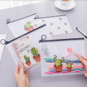 Colorful Transparent Pens Bag Women Cactus Plastic Pencil Bag Travel Make Up Beauty Toiletry Bags Female Makeup Organizer