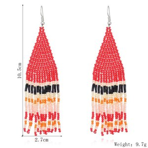 Tassel Earring Bohemian Vintage Earrings Ladies Fashion Bohemia Earings Beaded Handmade Female Earrings Boho Women Ear Studs sea EEB4357