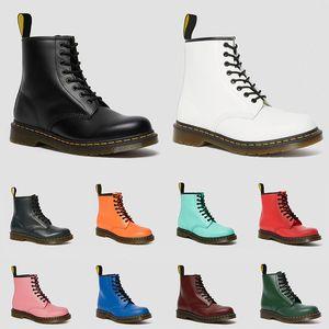 2020 dr martens hombres mujeres botas dr martin 1460 negro blanco rojo cereza verde azul marino gris acero moda martas botas de encaje de cuero liso zapatos de invierno