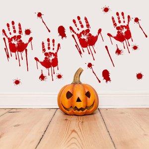 Cadılar Bayramı Kanlı El izi Scary Halloween PVC Sticker Perili Ev Prop Pencere Dekorasyon Su geçirmez Kanlı Parmak İzi Çıkartmaları AHE2165