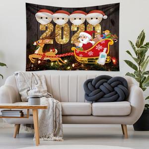 Familia de cuarentena los árboles de navidad tela de la tapicería manta de yoga arte del tapiz toalla de playa grande Alfombra Alfombra pared Decoración de Navidad OWE2319