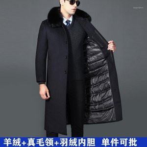 오래 된 양모 모직 헝겊 캐시미어 코트에있는 남자 겨울 긴 진한 칼라는 무릎 길이의 코트를 아래로 제거 할 수 있습니다.