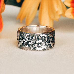 Women for Cute Silver Bird Men and Antique Flower Rings Color Engagement Promise Ring Male Female Vintage Fashion Punk Jewelry