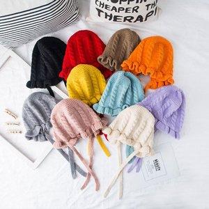 Princess Baby Girls Hat Soft Knitted Winter Warm Newborn Bonnet Enfant Cap Solid Color Twist Cross knotted Kids Beanies Hat