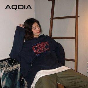 Aqoia Herbst Harajuku Brief Drucken Lose Frauen Hoodies dünne Sweatshirt Fake Zwei Stücke Koreanisches Stil Oversize Sweatshirt 201207