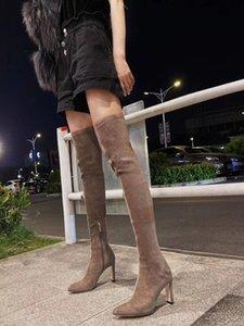 JC botas novo salto alto com bico fino e sapatos de camurça com uma altura de 8,5 centímetros calcanhar