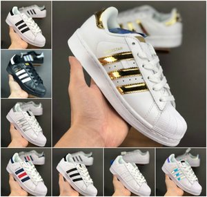 De haute qualité 2021 Superstar Blanc Noir Or Rose Bleu Superstars 80 Fierté Sneakers Super Star Femmes Hommes Sport Chaussures de course d'EUR 36-44