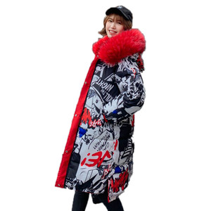 Women's Down Jacket Large Size Long Female Hooded Down Coat With Fur Collar Both Sides Can Be Worn Plus Size Down Jackets 201006