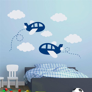 Avion Wall Sticker Grand Décor de nurserie Stickers muraux pour l'art Aircraft Chambre Enfants Stickers Nuages ​​avion Art Decal T180313