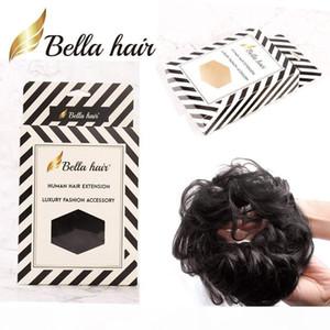Bellahair 100 % 인간의 머리 scrunchie 롤빵 헤어 피스 물결 모양의 곱슬 머리 파니 머리 확장 도넛 머리카락 chignons (# 1b # 4 # 8 # 27 # 30 # 60 # 8 # 80 # 80 # 실버 그레이)