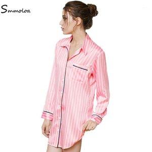 Smmoloa frauen home tragen rosa streifen seide nacht shirt1