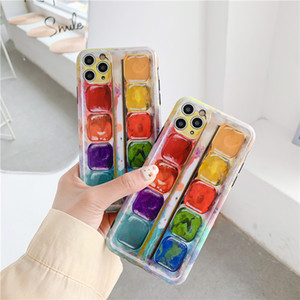 Retro color pigment oil paint box Phone Case for iPhone 11 Pro XS Max case Silicone cover For iPhone XR X 7 8 Plus Cute Cases