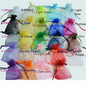 100pcs 7x9 9x12 10x15 13x18CM Organza Bags Jewelry Packaging Bags Wedding Party Decoration Drawable Bags Gift Pouches 24 colors