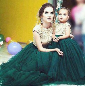 Мать и дочь Платья Кружева Аппликация Ударные Рукава V Открытые Свадебные Вечеринки Платья Длинные Тюль Цветочные Девушки Платья