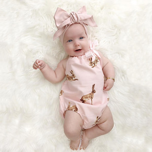 New Summer Ins Infant Baby Girls Rabbits Printed Sleeveless Cute Rompers + Bowknot Headband 2pcs Kids Set Children Outfits Clothing Suits