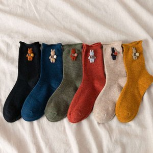 Autumn and winter thickened warm wool curled edge sewing cute three-dimensional cartoon rabbit middle tube female socks