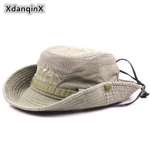 XdanqinX Männer Hut Sommer-Ineinander greifen Ventilation Retro 100% Baumwolle Bucket Hats Neuheit Papas Sun Visor Fischerhut Strand Caps