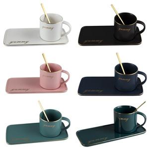 Cerâmica nórdica Caneca De Café Set plated Cerâmico Café Latte Caneca Drinkware com colher e prato Tarminada Chá Conjunto de Louça