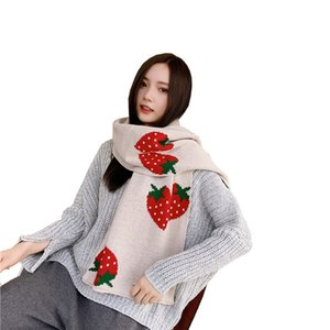 New Arrival Scarf Soft Outdoor Scarf Winter Warm Strawberry Print Shawl Knitting Scarfs Long Style Small Scarf 6 Colors