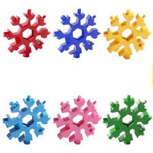 18-in-1 flocon de neige multi outil de poche Carte en acier inoxydable Multitool Edc outil clé hexagonale Tournevis clé Allen de cadeau de Noël IIA870