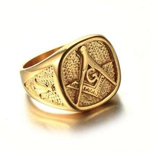 Cool Mens Gold Free Mason Freemasonry Masonic Ring 316L кольцо из нержавеющей стали из нержавеющей стали1