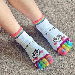 Mujer transpirable puro Cinco Dibujos de algodón calcetines del dedo del pie suave y cómodo para el tobillo del calcetín Y201009