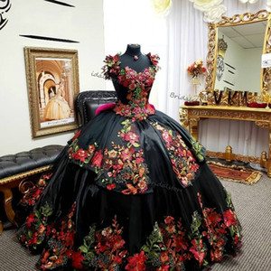 Vintage Black Embroidery Quinceanera Dresses 2021 Mexican Ball Gown Appliques Lace Prom Dress Corset Vestidos De 15 Anos Formal Women Party