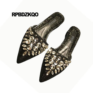 Slippers Sandals Rhinestone Gold Crystal Glitter Black Women Ladies Beautiful Flats Shoes Mules Sequin Large Size Pointed Toe