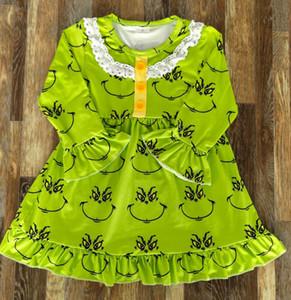 Kids Christmas pajamas dress girls lapel falbala long sleeve cartoon printed nightwear children milk silk sleepwear A4808