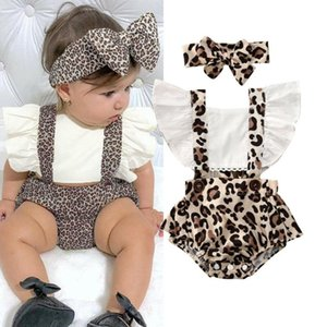 Infant Baby Girls Clothes Leopard Print Bodysuit Rompers Playsuit Summer Backless Ruffle Sleeve Bow Headband 2pc Outfits set