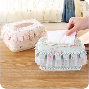 European Rural Style Tissue Box Lace Fabric Paper Storage Box Car Napkins Holder Home Paper Tissue Canister Organizer Home Decor