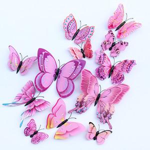 Capa doble multicolor 12pcs alas de mariposa 3D etiqueta de la pared del imán Partido de las mariposas de PVC habitación de los niños Nevera Decoración de DHL