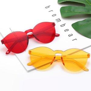 Lunettes de soleil Cat Oeil Oeil Ocean Lens Femmes One-Pièce Transparent Candy Couleur Verres Oloey Brand Vert UV400 Oculos