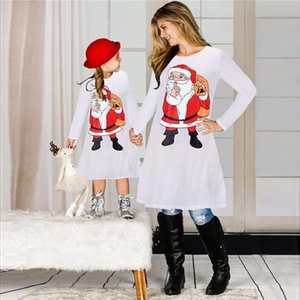 Christmas Family Matching Clothes Suit Mother Daughter Matching Dresses Santa Claus Skirt X-mas Print Parent-child Dress Outfits E101901