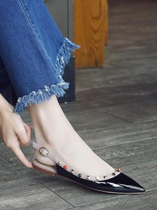 Женщина Мода Твердой Баотоу Lace-Up сандалия Will Малого Код Rivet Sharp обувь