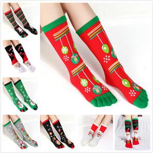 9 stili Toe Socks di Natale per adulti divertente fumetto 3D stampato cinque dita Calzini Split Toe Socks Snowman Babbo Warm mezzo polpaccio lungo Calze