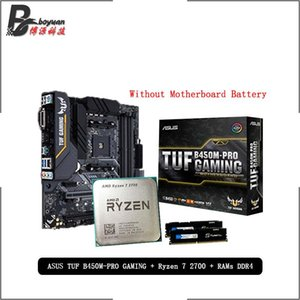 AMD Ryzen 7 2700 R7 2700 CPU + Asus TUF B450M PRO GAMING Motherboard + Pumeitou DDR4 2666MHz RAMs Suit Socket AM4 Without cooler