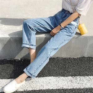 Hot Sale Women Jeans Denim Casual Vintage Korean Style Blue High Waist Pants for Ladies Grils Ankle Length Jeans